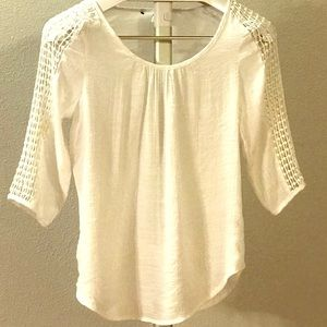 Tops - White Blouse with Sleeve detail